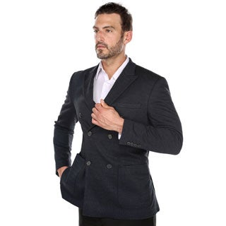 Zenbriele Men's Navy Blue Double Breasted Nailshead Peak Lapel Blazer (More options available)