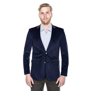 Beverly Hills Polo Club Men's Navy Velvet Slim-fit Blazer