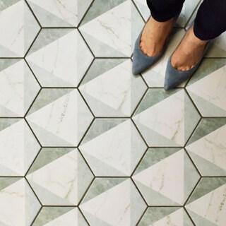 SomerTile 7x8-inch Carra Hexagon Peak Porcelain Floor and Wall Tile (35/Case, 11.41 sqft.)