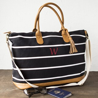 Personalized Black and White Striped Oversized Weekender Tote