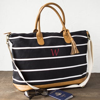 Personalized Black and White Striped Oversized Weekender Tote (More options available)