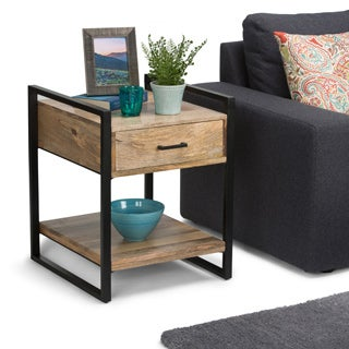 WYNDENHALL Lawson Mango Wood & Metal End Side Table