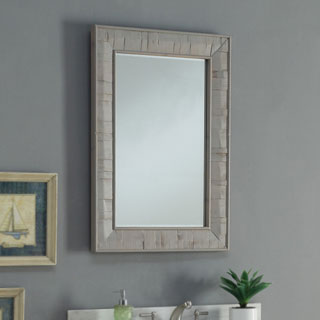 Infurnitur Rustic Style Multicolor Wood 26-inch-wide Rectangular Wall Mirror