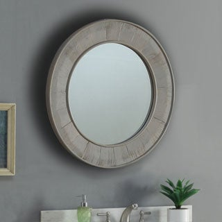 Infurniture Light Grey Wood and Glass 27.5-inch Round Wall Mirror