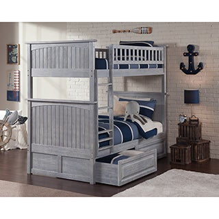 Nantucket Driftwood Washed Grey Twin-over-twin Bunk Bed with Raised Panel Drawers