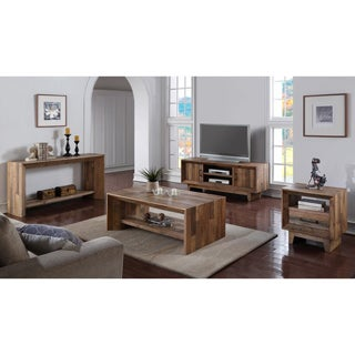 Kosas Home Ashville Beige Reclaimed Wood Console Table