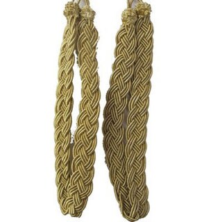 Vintiquewise Gold Rope Curtain Tie Backs (Set of 2) - L