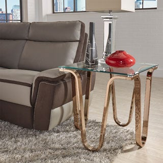 Reverberate Glass Top Champagne Gold Metal Side Table iNSPIRE Q Modern