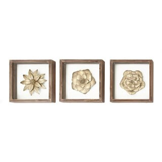 Urban Designs Metal Flowers Framed Wall Art (Pack of 3)