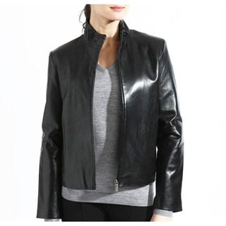 Women's Black Lambskin Leather Moto Scuba Jacket