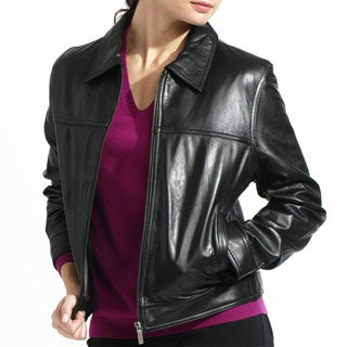 Women's Black Lamb Leather Zip Front Jacket