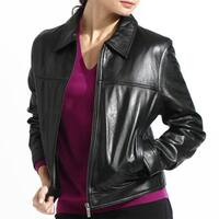 Women's Black Leather Jean Jacket