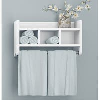 Alaterre 25-inch Wood Bath Storage Shelf with Towel Rod