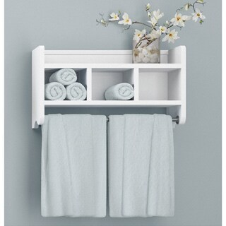 Alaterre 25-inch Wood Bath Storage Shelf with Towel Rod (5 options available)