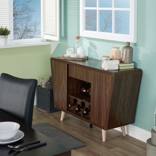 Furniture Of America Pearsen Mid Century Modern Retro Dark Walnut Dining  Buffet/Server