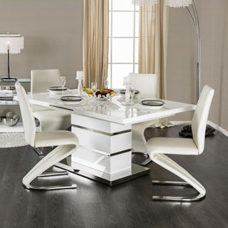 Furniture of America Novas Contemporary Glossy White Dining Table with 14-inch Butterfly Leaf