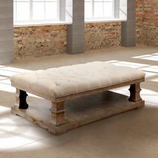 Furniture of America Temecula II Shabby Chic Distressed Natural Tone Tufted Linen Top Coffee Table