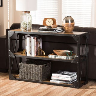 Baxton Studio Phoibe Industrial Style Antique Black Finished Metal and Distressed Wood Occasional Sofa and End Table