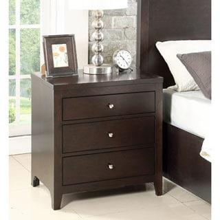 Abbyson Clarkston Espresso Rubberwood 3-drawer Nightstand