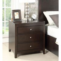 Abbyson Clarkston Espresso Rubberwood 3-drawer Nightstand