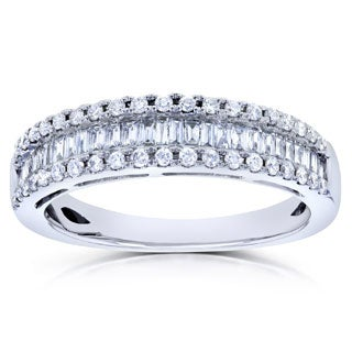 Annello 14k White Gold 1/2ct TDW Round and Baguette Diamond Wedding Ring