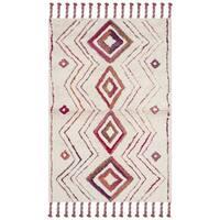 Safavieh Casablanca Handmade Moroccan Flokati Ivory/ Multi Wool Rug - 4' x 6'