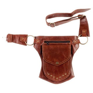 Traveller's Buddy Leather Belt Fanny Pack-Brown-One Size