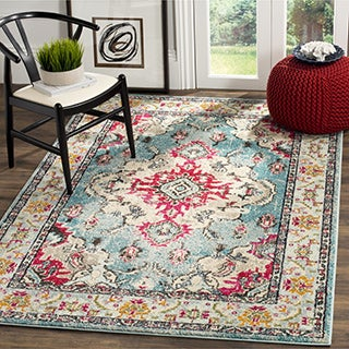 Safavieh Monaco Bohemian Medallion Light Blue/ Fuchsia Distressed Rug - 3' x 5'