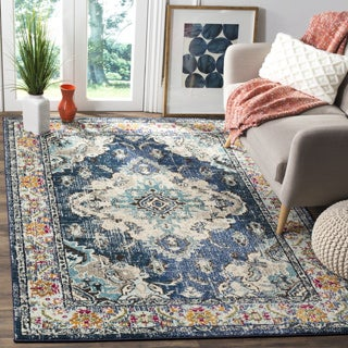 Safavieh Monaco Bohemian Medallion Navy / Light Blue Distressed Rug (4' x 5' 7)