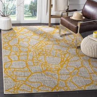 Safavieh Porcello Modern Abstract Light Grey/ Yellow Rug (4'1 x 6')