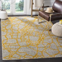 Safavieh Porcello Modern Abstract Light Grey/ Yellow Rug (4'1 x 6')