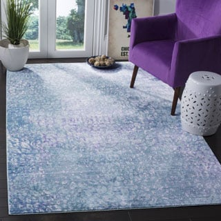 Safavieh Mystique Watercolor Blue/ Multi Distressed Silky Polyester Rug (6' x 9')