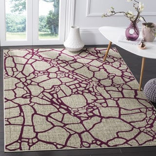 Safavieh Porcello Modern Abstract Light Grey/ Purple Rug (6' x 9')