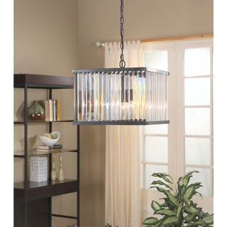 ABBYSON LIVING Stella Black Metal and Crystal Square 4-light Chandelier