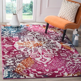 Safavieh Watercolor Bohemian Medallion Ivory/ Fuchsia Rug (6' 7 x 9')