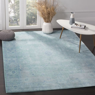 Safavieh Valencia Teal/ Multi Overdyed Distressed Silky Polyester Rug (6' x 9')