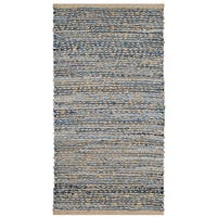Safavieh Hand-Woven Cape Cod Natural/ Blue Jute Rug - 2' x 4'