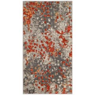 Safavieh Monaco Abstract Watercolor Grey / Orange Distressed Rug (2' 2 x 4')