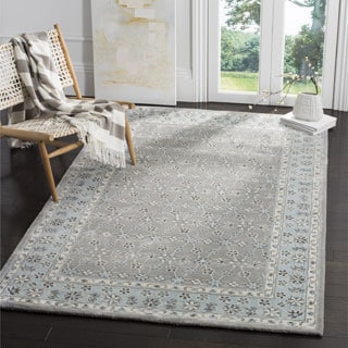 Safavieh Bella Contemporary Handmade Silver/ Light Blue Wool Rug (8' x 10')