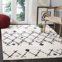 Safavieh Berber Shag Tribal Cream/ Navy Shag Rug - 8' x 10'