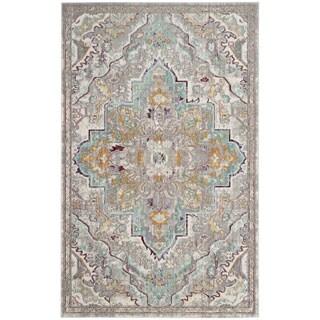Safavieh Mystique Bohemian Grey / Light Blue Distressed Silky Polyester Rug (8' x 10')