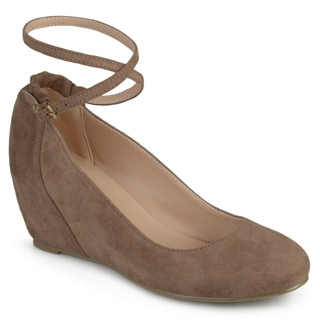 Journee Collection Women's 'Tibby' Faux Suede Ankle Strap Covered Wedges