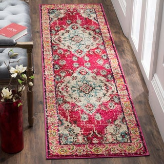 Safavieh Monaco Bohemian Medallion Pink/ Multicolored Distressed Runner (2' 2 x 16')