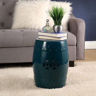 Abbyson Madras Ceramic Garden Stool, Teal