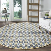 Safavieh Montauk Handmade Geometric Flatweave Gold/ Multi Cotton Rug (4' Round)