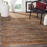 Safavieh Hand-Woven Rag Cotton Rug Gold/ Multicolored Cotton Rug - 6' Square