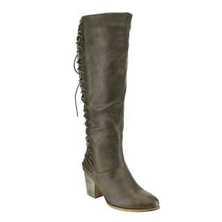 Liliana GF52 Women's Black/Green/Brown Faux Leather Back Lace-up Inside Zipper Stacked Chunky Heel Riding Boots