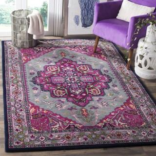 Safavieh Bellagio Handmade Bohemian Grey/ Pink Wool Rug (6' x 9')