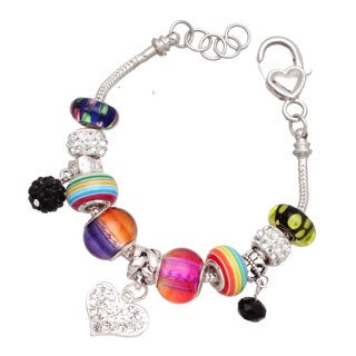 """Punky Pop"" Silver Interchangable Big Hole Charm Bracelet"