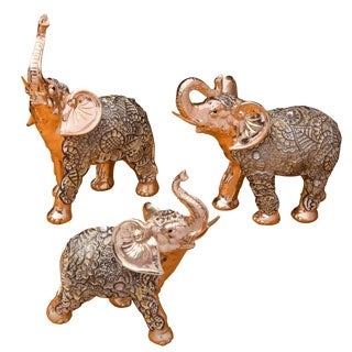 Elephant Gold Polyresin Standing Figurines (Set of 3)